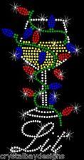 Get Lit Christmas Light Party Drinking Bling Rhinestone Transfer Hot Fix Iron On