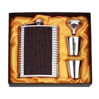 8oz Stainless Steel Leather Hip Flask Bottle Whiskey Flasks Mug Funnel Cup Set