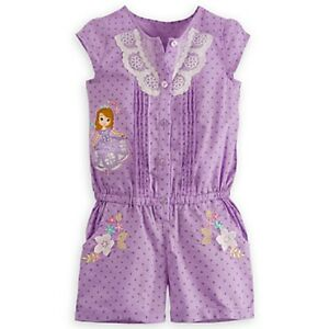 DISNEY STORE SOFIA THE FIRST WOVEN ROMPER FOR GIRLS COTTON 1-PC NICE DETAIL NWT