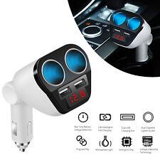 Car Lcd Double Cigarette Lighter Socket Splitter Dual Usb Port 12V Power Adapter