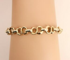 "Italy Italian 9ct Gold Fancy Link Designer Bracelet. Length 8"". NICE1"