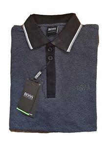 Hugo Boss Men's Pima Cotton 3 Button Polo Shirt  Slim Fit Black/Gray/White Small