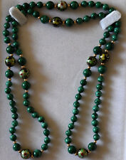 Chinese Floral Cloisonne, Malachite and Small 14K Solid Gold Beads Necklace