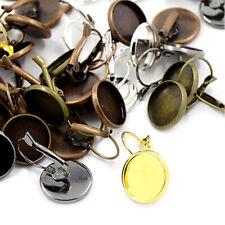 200 Random Brass Leverback Earwire Cameo Bezel Setting Cups Hook Studs 12mm Tray