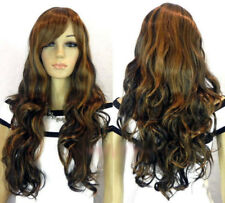 Hot Sell Fashion Long Brown Mix Curly Cosplay Women's Lady's Hair Wig Wigs + Cap
