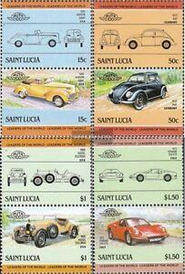 St. lucía 740-747 parejas (edición completa) nuevo 1985 coches