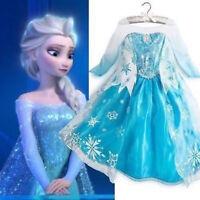 Girls Elsa Dress Fancy Costume Princess Party Dresses Cosplay Dress Up Bday Gift