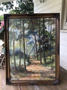 Original Painting  LANDSCAPE Forest Glade Trees RURAL Old Picture FRAMED