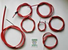 CABLE KIT IN RED SUITABLE FOR THE LI SERIES 3 LAMBRETTA SCOOTER. NYLON LINED