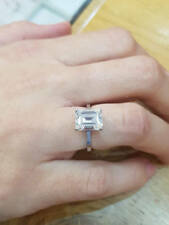 3.00 Ct Emerald Cut Diamond Engagement Ring 18K Solid White Gold Size M N O 1/2