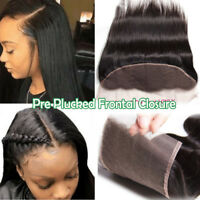 Pre Plucked Frontal Lace Closure Straight Indian Virgin Human Hair Weft 13*4 US