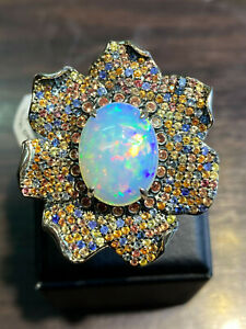 NATURAL FIRE OPAL 17X13 MULTI SAPPHIRE DIAMOND CUT STERLING SILVER 925 RING