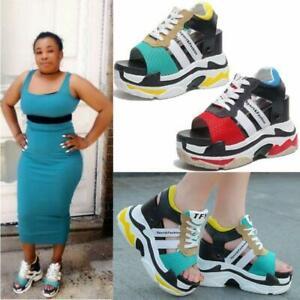 Womens Peep-toe Wedges Platform Lace Up Creeper High Heels Sneaker Sandals Shoes