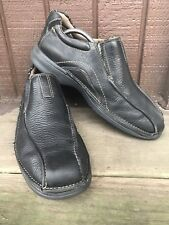 Mens Clarks Size 10M Black Leather Moc Bicycle Toe Casual Loafers SlipOns-275