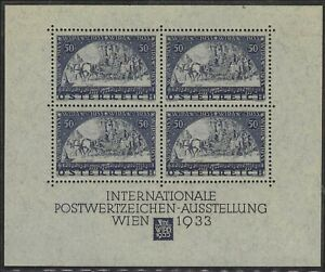 Austria 1933 WIPA 50g + 50g miniature sheet with booklet hinged mint