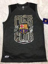 Barcelona Soccer Men FCB Official Mes Que Un Club T Shirt Sleeveless Gray Sz M