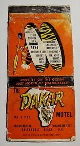 The Dakar Motel Hallandale Beach Florida Travel Vacation Vintage Matchbook Cover