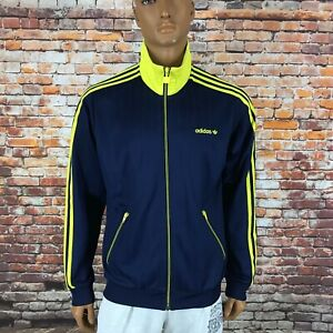 Men's Adidas Originals Celebrate Firebird Track Retro Jacket Navy Yellow Size L
