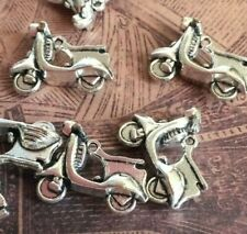 Vintage Scooter Charms Vespa Silver tone Jewelry Making 10 pcs 20x15mm