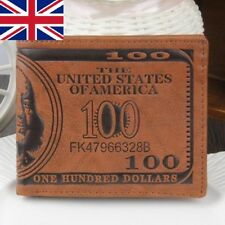 Fashion US Dollar Bill Wallet Brown PU Leather Wallet Bifold Credit Card Photo