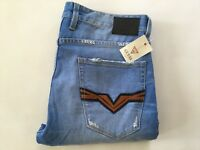 Guess Men's Regular Straight Jeans Light Blue Destroy-Repair Details Size 32X34