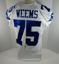 2014 Dallas Cowboys Darrion Weems #75 Game Issued White Jersey