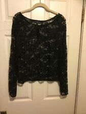8120ba79a5d Lane Bryant Plus Size 14 16 Black Lace Top Sheer Mini Rhinestones