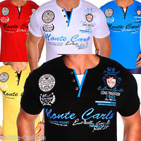 ZAHIDA Herren T-Shirt 2 in 1 Shirt Clubwear V-Neck Polo Designer M L XL XXL NEU