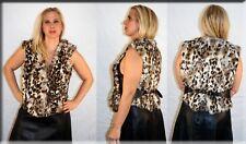 New Leopard Print Rabbit Fur and Leather Vest Size Medium 6 8 M Efurs4less