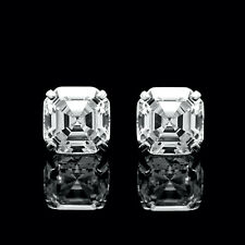 6CT Asscher Cut Created Diamond Earrings 14K White Gold Solitaire Square Studs