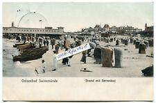 Postkarte um 1907 :  Swinemünde / Świnoujście , Strand mit Herrenbad