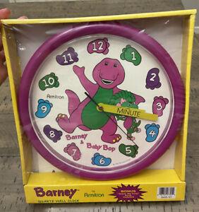 "Armitron Quartz Wall Child Clock Vintage 1993 Barney Baby Bop Purple 10"" Round"