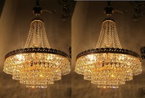 "Pair Of Antique Vnt Austrian Real Swarovski Crystal Chandelier Lamp 1950s 16""in"