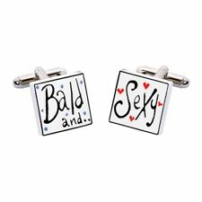 Bald & Sexy Cufflinks by Sonia Spencer, Hand painted, RRP £20!