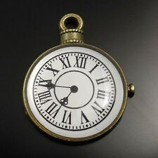 20X Antique Style Bronze Tone Alloy Round Watch Clock Pendant Charm 20*18*2mm