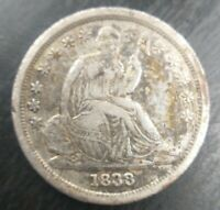 1838 Liberty Seated Dime, large stars VF Very Fine Details, Obv Scratches