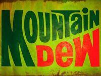 1970s MOUNTAIN DEW LOGO SODA POP HEAVY DUTY USA MADE METAL ADVERTISING SIGN