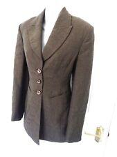 KAREN MILLEN Size 10 Chocolate Brown Textured Flock Wool Blend Long Jacket