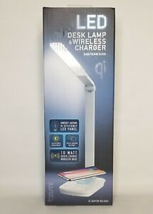 Tzumi LED Desk Lamp w/ Quick Charge Wireless Charging Pad Base Adjustable NEW