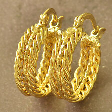 22MM 9K YELLOW GOLD FILLED TWIST HOOP HUGGIES SLEEPER SOLID WOMENS EARRINGS GIRL