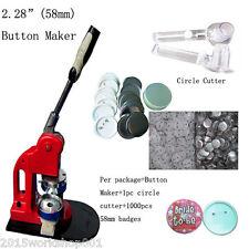 "2-1/4"" 58mm Badge Making Machine Button Press+1000 Button Supplies+Circle Cutter"