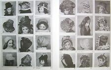 "14 ANTIQUE FRENCH JUMEAU,BRU,GERMAN,FASHION DOLL HAT PATTERNS FOR 5""-19"" DOLLS"