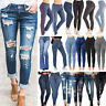 Womens Ladies Stretch Skinny High Waist Denim Pants Casual Jeans Pencil Trousers