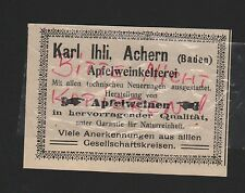 ACHERN, Werbung 1912, Karl Ihli Apfelwein-Kelterei