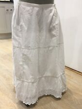 More details for antique petticoat lace french 1920s white cotton broderie anglaise onesize old