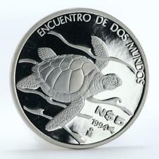 Mexico 5 pesos Pacific Ridley Sea Turtle proof silver coin 1994