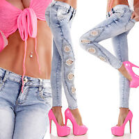 Women Skiny Jeans Clubbing Trouser Ladies Denim Lace Hole Pant Size 6 8 10 12 14
