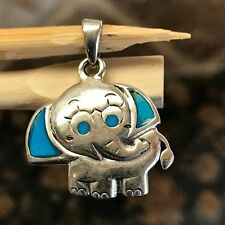 Natural Turquoise 925 Solid Sterling Silver Elephant Pendant 25mm