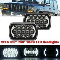 2PCS 7x6'' LED Square Headlight Lamp Hi/Lo Beam For Jeep Wrangler YJ Cherokee XJ