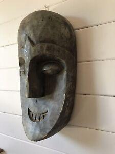 Vintage Hand Carved Wooden Mask Ethnic Folk Art Carving Mask
